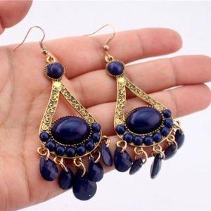 Boho Gold and Blue Dangle Chandelier Earrings